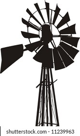 Silhouette of a water pumping windmill as might be seen on a farm.