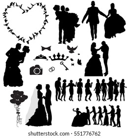 silhouette of the wedding, the wedding icons