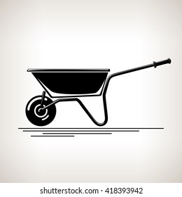 Silhouette a Wheelbarrow on a Light  Background, Agricultural Tool Wheelbarrow , Garden and Carpentry  Equipment,  Black and White Vector Illustration