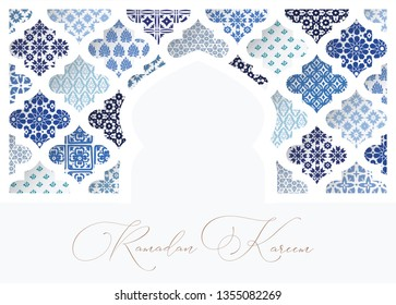 Silhouette of white oranmental mosque window decorated by blue arabic tiles. Greeting card, invitation for Muslim holiday Ramadan Kareem. Vector illustration bacground, web banner.
