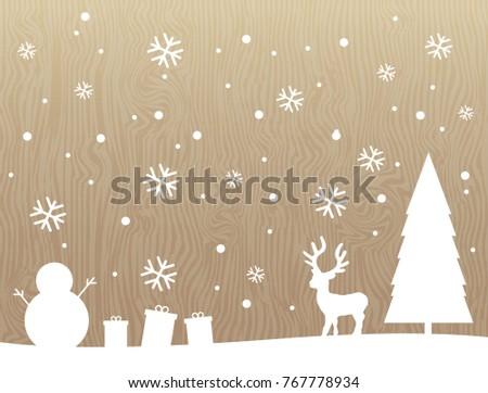 Silhouette White Reindeertreesnowmansnowflakegift On Rustic Wood Texture Vertical