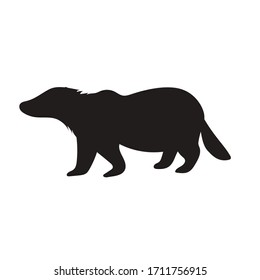 Silhouette of a wild animal badger, black on a white background, vector illustration