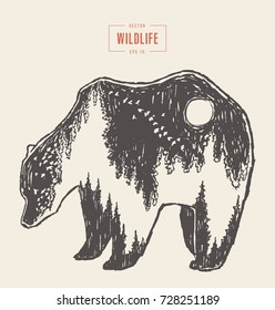 Silhouette of a wild bear with a forest illustration inside, wildlife concept, hand drawn vector illustration