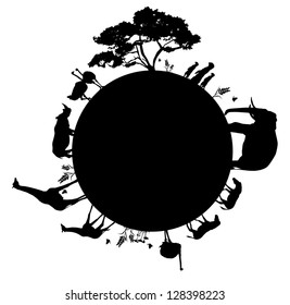 Silhouette of wildlife animals in Africa walking around the world, vector