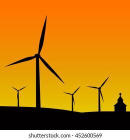 Silhouette wind turbine farm