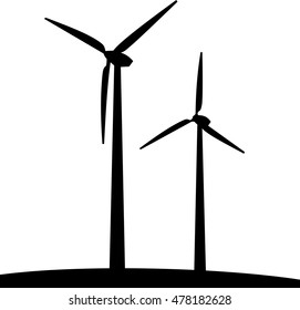 Silhouette of windmills. Alternative energy source. Vector illustration.