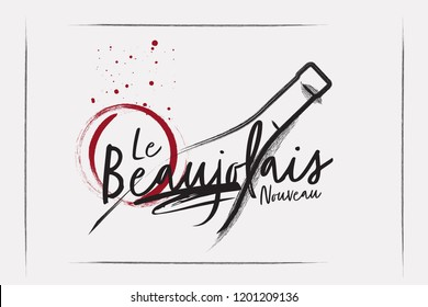 Silhouette of a wine bottle from a single line. Chalk style logo
