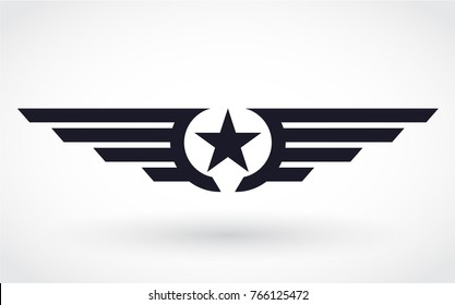 silhouette winged star branding simbol