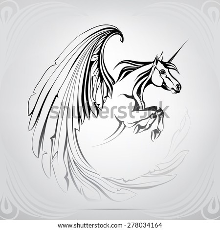 Silhouette Of The Winged Unicorn