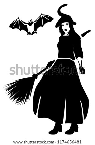 silhouette witch broom flying bat isolated stock vector royalty