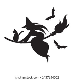 Silhouette of witch & cat on broom with flying bats