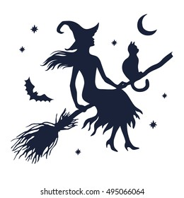 Silhouette of witch with cat on broom with moon and stars,  vector illustration isolated on white background.