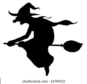 Silhouette of witch flying on broom