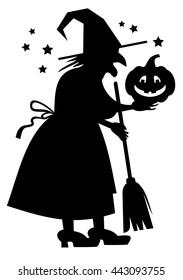 Silhouette of a witch holding Halloween pumpkin. Vector clip art.