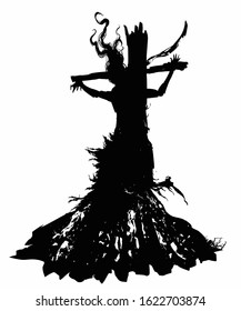 The silhouette of a witch with long hair and ragged clothes, burned at the stake, crucified on the cross. 2D illustration