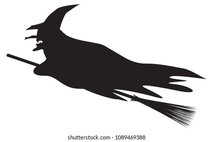 A silhouette of a witch riding a broomstick isolated on a white background
