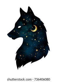 Silhouette of wolf with crescent moon and stars isolated. Sticker, print or tattoo design vector illustration. Pagan totem, wiccan familiar spirit art.