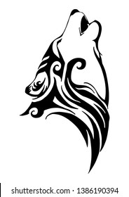 Silhouette wolf head howl tribal tattoo vector design with white isolated background
