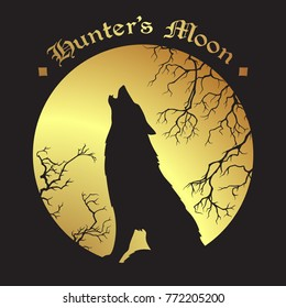 Silhouette of wolf howling at the full hunter's moon vector illustration. Pagan totem, wiccan familiar spirit art.
