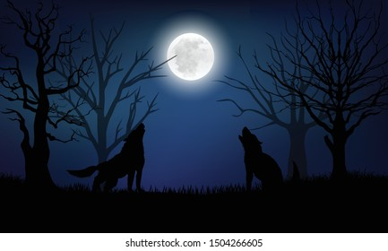 Silhouette of the wolf howling at the moon in the forest at night