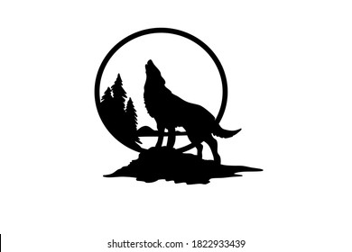 The silhouette of a wolf howts on a full moon vector illustration. Pagan totem, wiccan known spiritual art.