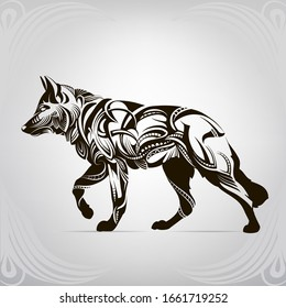 Silhouette of a wolf in an ornament
