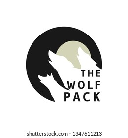 silhouette wolf pack with circle vintage logo design
