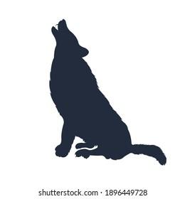 Silhouette of the wolf. Vector wolf logo. wildlife, Wild wolf illustration, wolf sitting icon