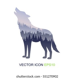 Silhouette of the wolf. Wild nature. Silhouette of a wolf and wildlife. Logo. Vector illustration.