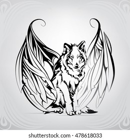 Silhouette of a wolf with wings