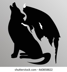 silhouette of the wolf with wings tattoo