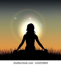 Silhouette of a Woman acts yoga against the sunrise. Vector illustration