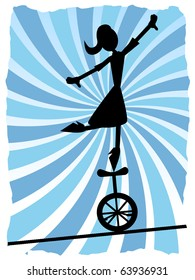 Silhouette of Woman balancing on unicycle on rope, vector illustration