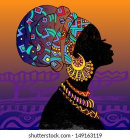 silhouette of woman. Beautiful black woman.
