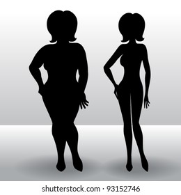 Silhouette of a woman before and after diet