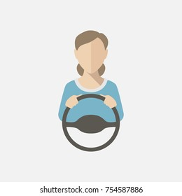 Silhouette of a woman in a blue blouse driving a car. Vector illustration, vector icon.