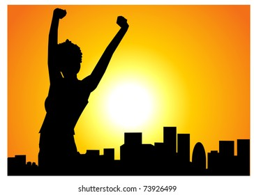 Silhouette of a woman celebrating arms raised at sunrise
