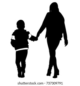 Silhouette of woman and child walking holding hands - vector
