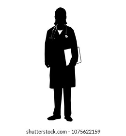 Silhouette of Woman  Doctor. Vector