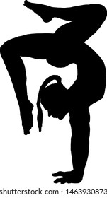 Silhouette of a woman doing a handstand. Vector illustration.
