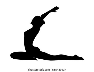 Silhouette of a woman doing pilates or yoga