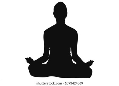 Silhouette of woman doing yoga.