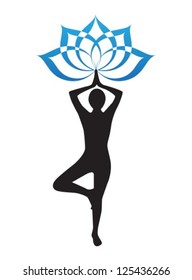 silhouette of a woman is doing yoga and lotus flower