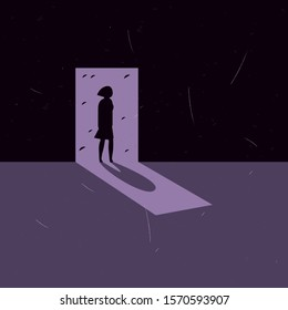 Silhouette Woman Doorway Vector Illustration EPS 10