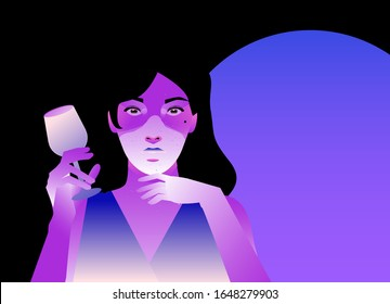 Silhouette of woman drinking wine with shadowed face in neon lightning. Concept neo noir style vector ilustration of personage in suspense atmosphere.