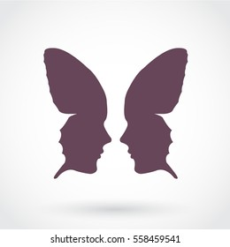 silhouette woman face butterfly abstract symbol