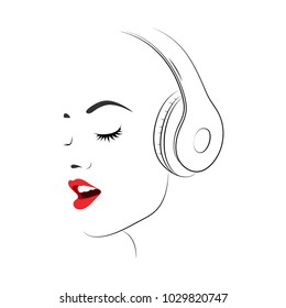 Silhouette of a woman face with headphones and red lips. Enjoys listening to music.  Vector illustration.