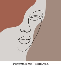 A silhouette of woman face with pastel decoration. Minimalist illustration. One line drawing.