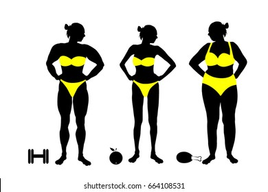 Silhouette of a woman fat and thin and bodybuilder. Vector