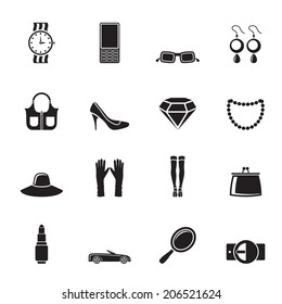 Silhouette woman and female Accessories icons - vector illustration